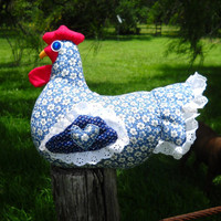 CIJ SALE - Blue & white chicken doll doorstop - floral calico, navy wings, blue heart, eyelet ruffle, quilted wings and tail