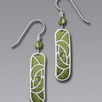 Adajio Earrings - Olive Capsule with Imitation Rhodium Curves Overlay and Green Cabochon