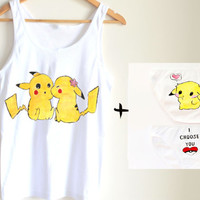 Underwear set handpainted cami set - pikachu  pokemon fun underwear gift for her unique cute  lingerie