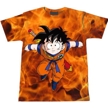 Kid Gohan Dragon Ball Z Tie Dye Bleach Flaming Fire T-Shirt