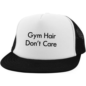 Gym Hair Don't Care Baseball Cap | Trucker Hat Distressed | Trucker Hat Snapback