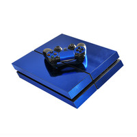 Chrome blue skin decal for playstation 4 console & controllers