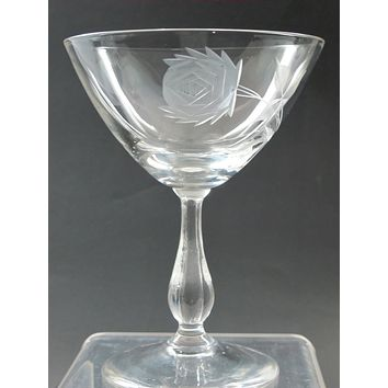 Bryce dessert glass Rose pattern Hand cut  Crystal  Made in USA Mt Pleasant PA