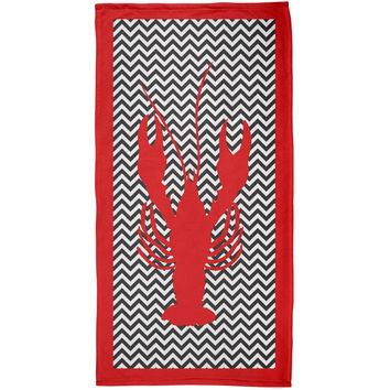 Lobster Chevron All Over Plush Beach Towel