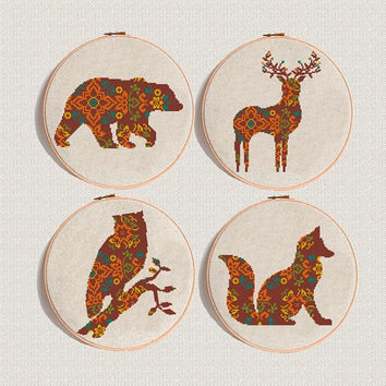 Set of 4 Cross Stitch pattern PDF Fox deer owl bear, Mandala pattern modern,  Animal Cross Stitch geometric Instant Digital Download
