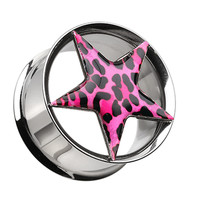 Leopard Star Hollow Double Flared 316L Surgical Steel Ear Gauge Plug