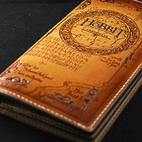 Handmade men Hobbit carved leather custom long wallet for men from EverHandmade