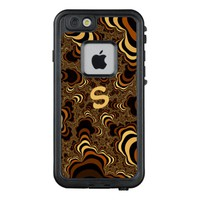 Cool brown stripped fractal. Monogram. LifeProof FRĒ iPhone 6/6s Case