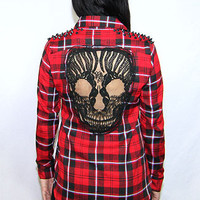 Red Flannel Skull Shirt