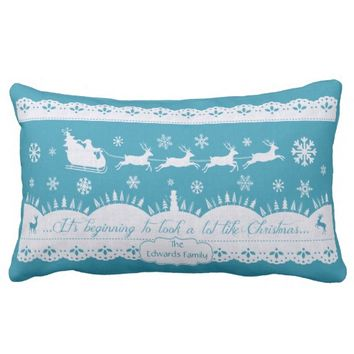 Custom Christmas Santa Sleigh Blue Pillow