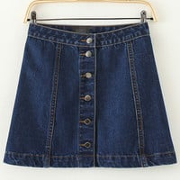 Blue Buttoned Mini Denim Skirt
