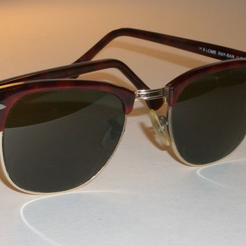 1970's VINTAGE B&L RAY-BAN W0366 MOCK TORT/GOLD COMBO CLUBMASTER SUNGLASSES
