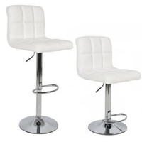 Modern Set of (2) Brand New White Swivel Leather Bar Stool Pub Barstools