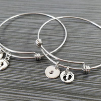 Two Baby Feet Bangles - Baby Charm Bracelet - Expandable Bangle - Baby Feet Charm Bangle - Initial Bracelet - New Mom Gift - Baby Shower