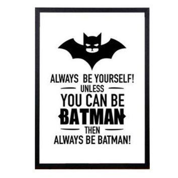30x40cm Batman Quote Canvas Designed Vintage Poster Art Print Black White Card Canvas for Home Room Decor