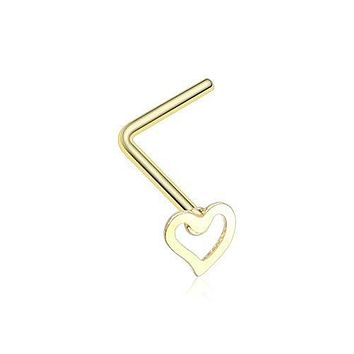 Dainty Heart Icon L-Shaped Nose Ring 316L Surgical Steel