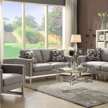 2 pc Stella collection grey flat weave fabric upholstered sofa and love seat set with stainless steel accents
