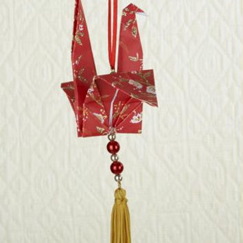 Christmas Ornament - Red Origami Dove With Tassel