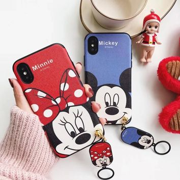 Rlenda for iphone 7 6 6s 8 plus X Cartoon Hello Kitty Pink Panther Monsters university Mickey Minnie Mouse Silicone Phone Case