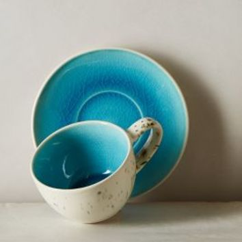 Scattered Seas Cup & Saucer by Anthropologie Turquoise Cup & Saucer Dinnerware
