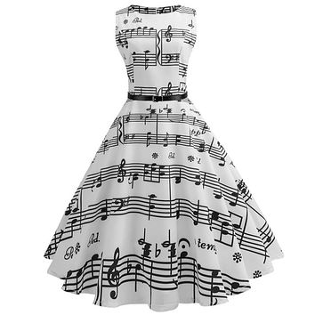 Vintage Music Note Printed Dress