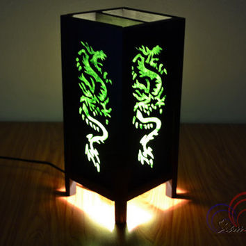 Chinese Paper Table Lamp Green Dragon For the New Year and Chinese Holiday Light