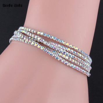 Silver plated women cuff bracelet natural crystal elasticity bangle ofertas del dia jewelry bracelets femmes acier inoxydable