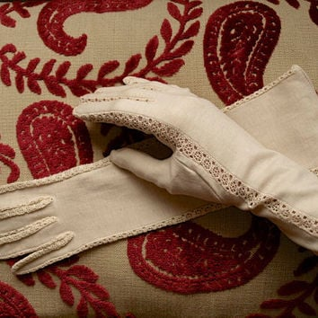 1930's Gloves - Empire Made - Vintage Gloves - Ivory Cotton - Size 7 - Dress Gloves - Long Gloves - Edged In Crochet Lace - Bridal Wedding