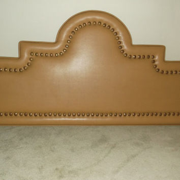 Vintage 1970's King Size Bed Headboard Yellow Ochre Vinyl with decorative nailheads Western