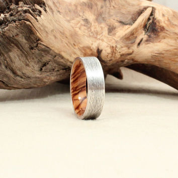 Fine Silver and Bethlehem Olivewood Wood Ring Silver Ring