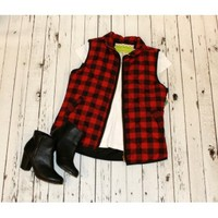 Red-Black Plaid Vest