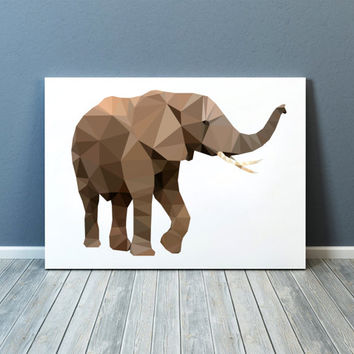Animal poster Elephant art Nursery print Colorful decor TOA64