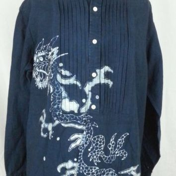 RALPH LAUREN Linen CHINESE DRAGON Estate Darow Pleated Mens Blue Shirt - L Large