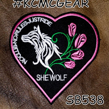 She Wolf Heart Small Badge Patch for Vest jacket SB538