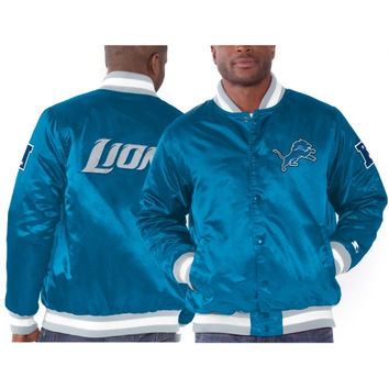 Detroit Lions Starter Genuine Satin Jacket – Light Blue