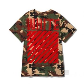 Indie Designs Off White Inspired Camo Military Red Embroidered T-shirt