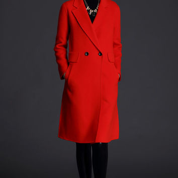 Cashmere Double Faced Coat -Classical Coat-Casual Jacket-Asymmetrical coat-Double breasted coat-Minimalist coat- red wool coat,S61S392