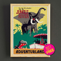 Vintage Adventureland Jungle River Print Disneyland Attraction Poster Home Wall Decor Gift Linen Print - Buy 2 Get 1 FREE - 347s2g