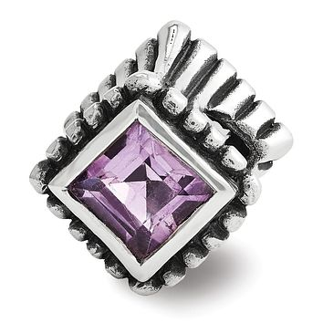 Sterling Silver and Princess Amethyst Fluted Bead Charm