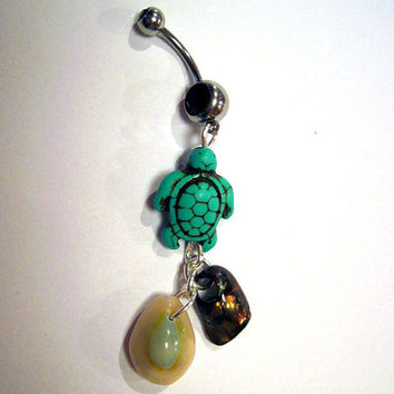 Navel Belly Button Ring Barbell Turquoise Magnesite Turtle Shells