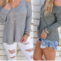 Cold Shoulder Knit Sweater B0014111