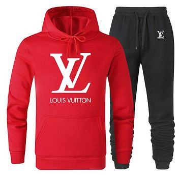 LV 2019 new classic big logo solid color loose men and women sports suit two-piece red