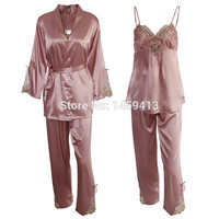 2016 Women Pajama Sets Plus Size Gown Spring Sleepwear 3pcs Sets Nightgown Robe & Nightshirt & Pant Lady Nightdress AU80016