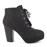 Short Platform Boot with Wooden Block Heel and Lace Up Front