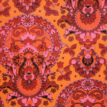 1970's Retro Wallpaper - Vintage Pink Orange and Red Damask