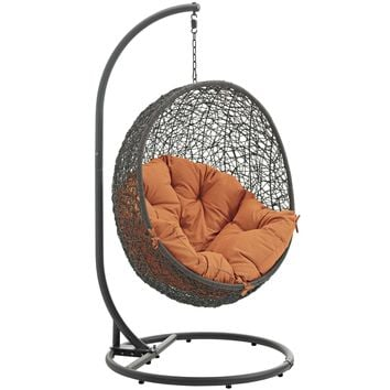 Hide Outdoor Patio Swing Chair With Stand Gray Orange EEI-2273-GRY-ORA