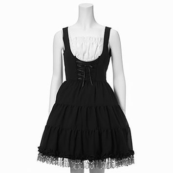 Sleeveless Short Black Cotton Classic Lolita Dress Alternative Measures - Brides & Bridesmaids - Wedding, Bridal, Prom, Formal Gown