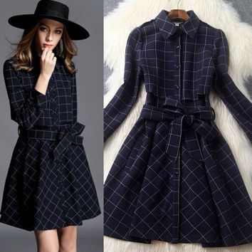 LMFON Retro checkered fashion lapel dress