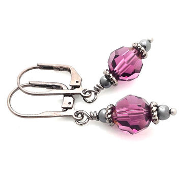 Purple Earrings, Deep Purple, Black Metal, Leverback, Dangle, Goth