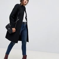ASOS DESIGN smart funnel neck coat with contrast trim at asos.com